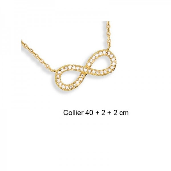 Collier infini signe amour en plaque or et fil en nylon