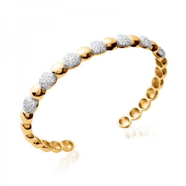 Bracelet jonc rigide en plaque or et strass zirconium