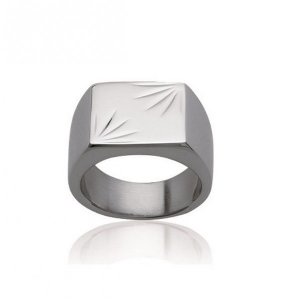Bague chevaliere rectangle en acier