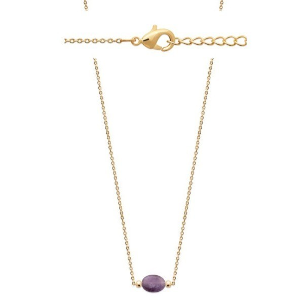Collier plaque or veritable amethyste ovale