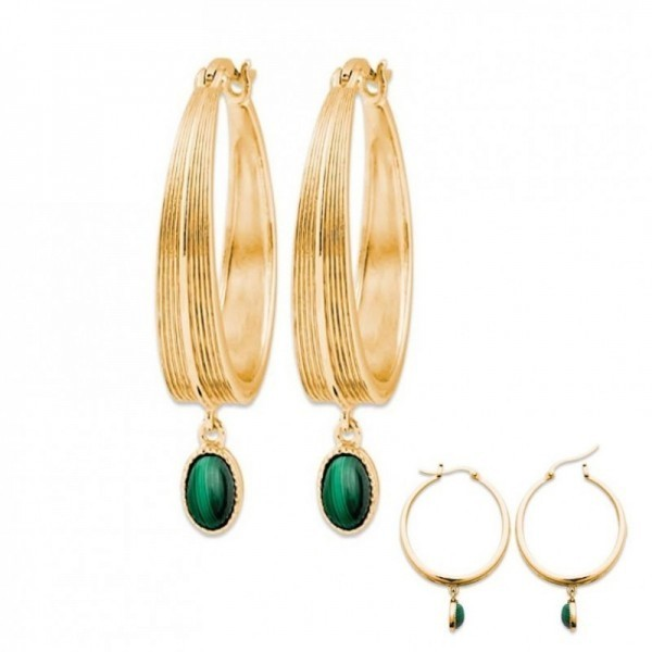 Boucles creoles en plaque or et pierres malachite