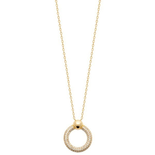 Collier en plaque or et cercle pave zirconium